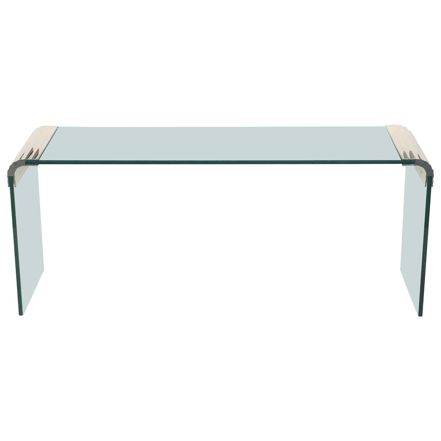 Scalloped nickel and glass console table by leon rosen for for Table a manger transparente