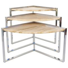 Travertine and Polished Chrome Nesting Tables Designed by Milo Baughman