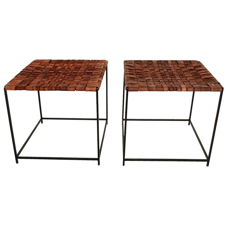 Mid Century Modern Leather And Iron Stools At 1stdibs