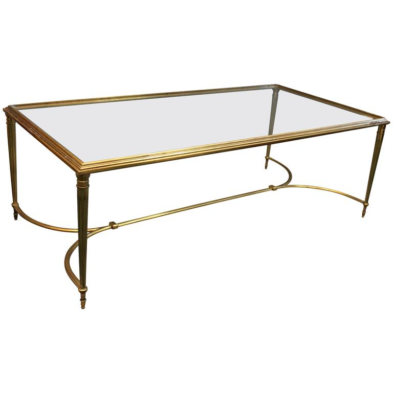 Vintage 1950's French Gilt Brass Coffee Table For Sale At