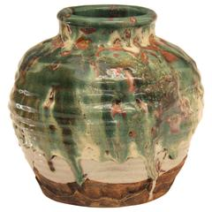Awaji Pottery Vase Manipulated Tea Ceremony Zen Japanese Volcanic Drip Glaze