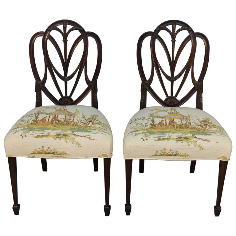 Pair Of Original Hepplewhite Shield Back Chairs At 1stdibs