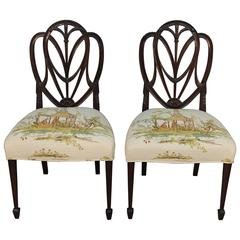 Pair of Original Hepplewhite Shield Back Chairs