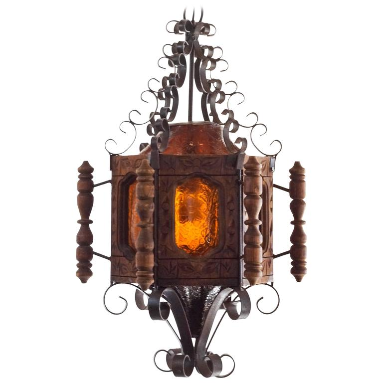 1960s Spanish Revival Or Mexican Pendent Light Wrought