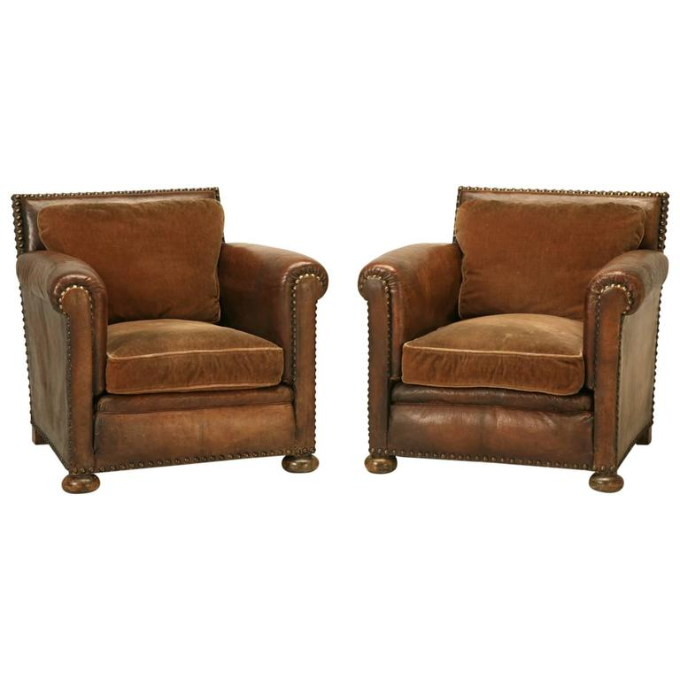 French Leather Club Chairs Circa 1920 At 1stdibs