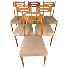 Ico Parisi Style Dining Chairs, Italian Modern