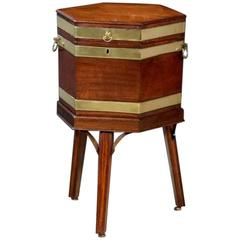 George III Mahogany and Brass Bound Hexagonal Wine Cooler