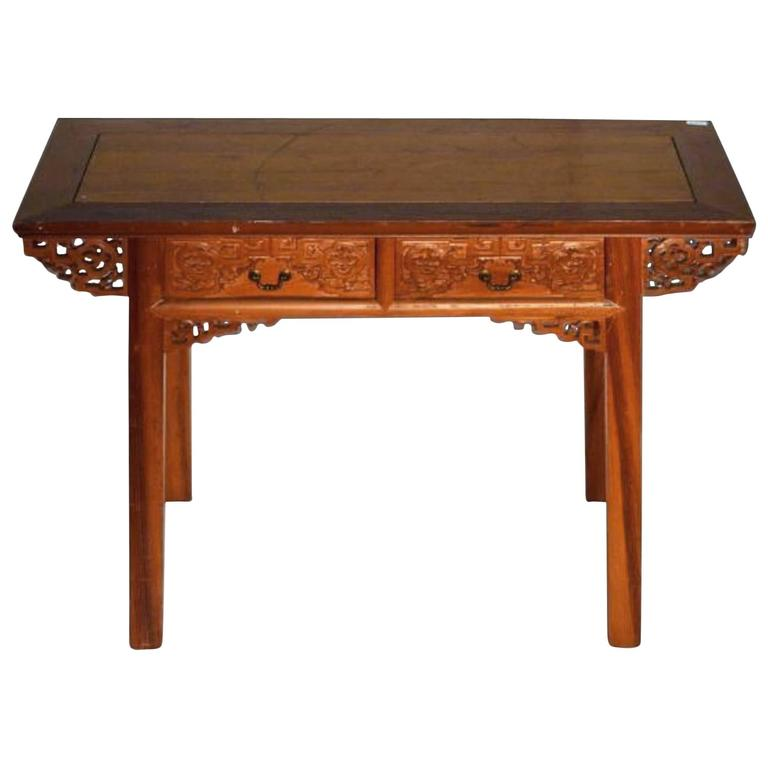 Antique Desk with Carved Frieze and Two Drawers from 19th Century, China
