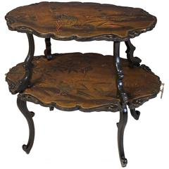 French Lacquered Two-Tier Table
