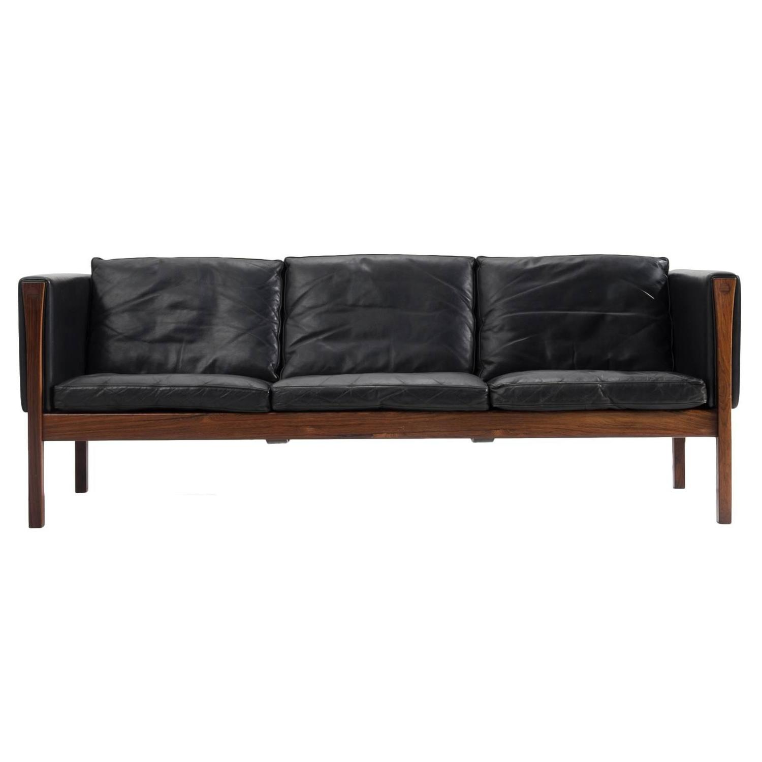 Hans Wegner Three-Seater Sofa AP62 in Black Leather and Rosewood ...