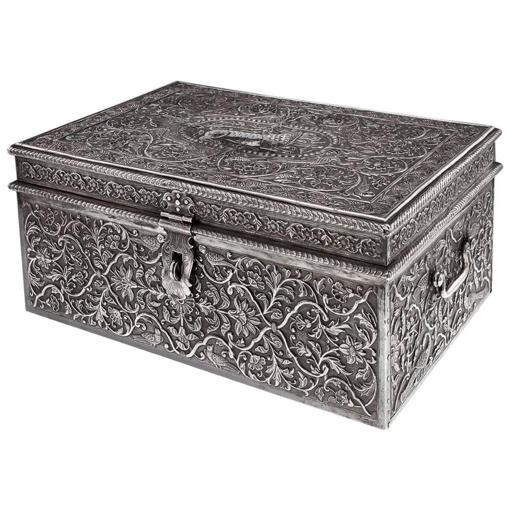 Antique Rare Indian Solid Silver Massive Treasure Chest Or Casket Circa 1880 For Sale At 1stdibs