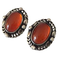 Georg Jensen Sterling Silver 1995 Annual Earclips with Amber Stones