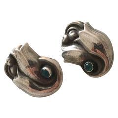 Georg Jensen Sterling Silver Ear Clips with Green Gemstones