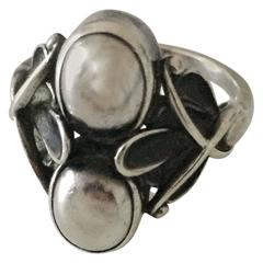 Georg Jensen Sterling Silver Ring with Silver Stones