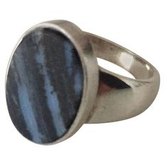 Georg Jensen Sterling Silver Ring with Stone