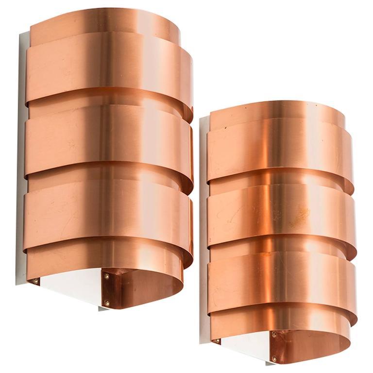 Hans-Agne Jakobsson Wall Lamps Model V-155 in Copper