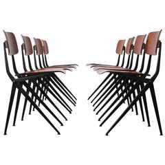 Set of 8 Rare Compass Leg Dining Chairs by Marko in Jean Prouvé Rietveld style