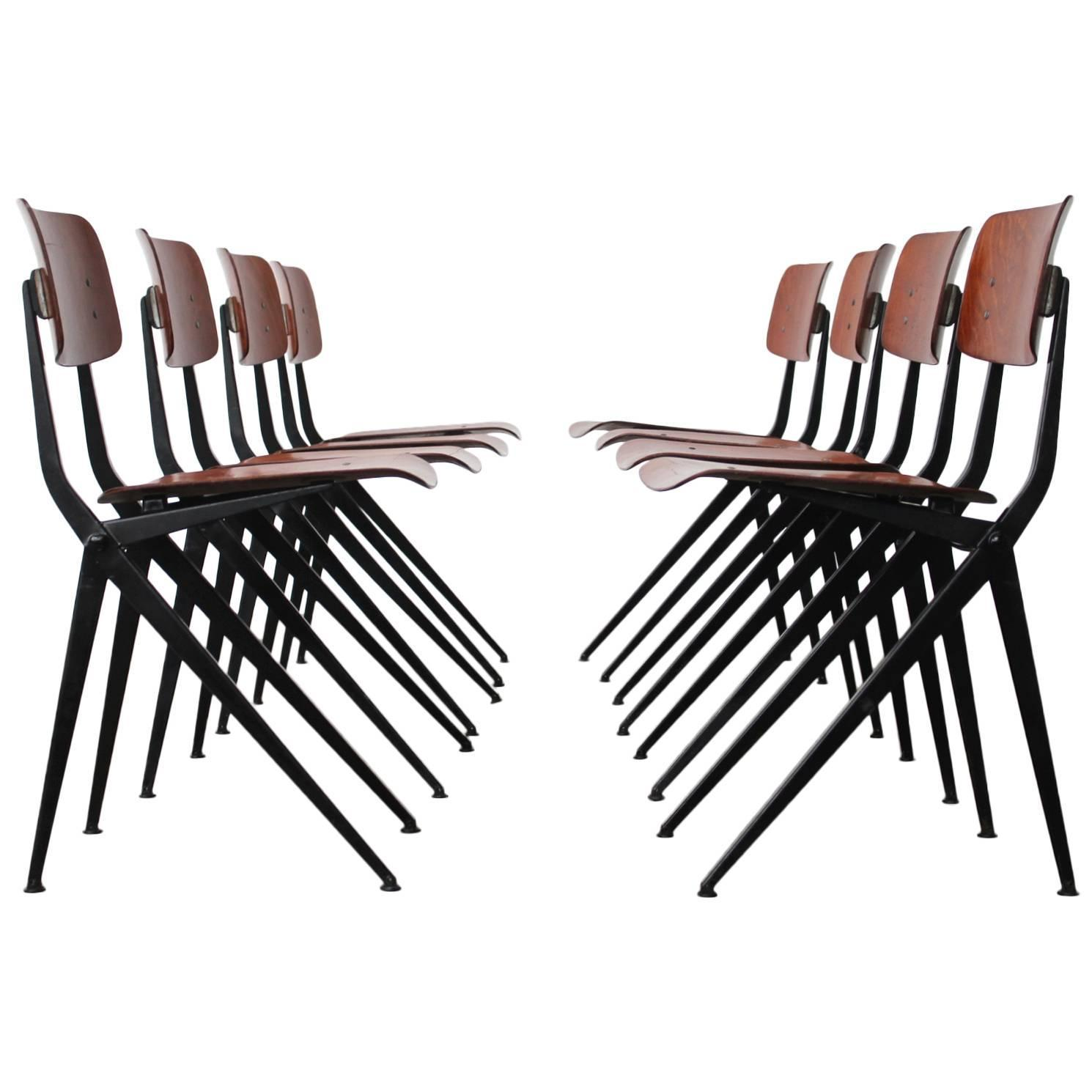 set of eight jean prouv繝筰 style rare pass leg dining chairs at