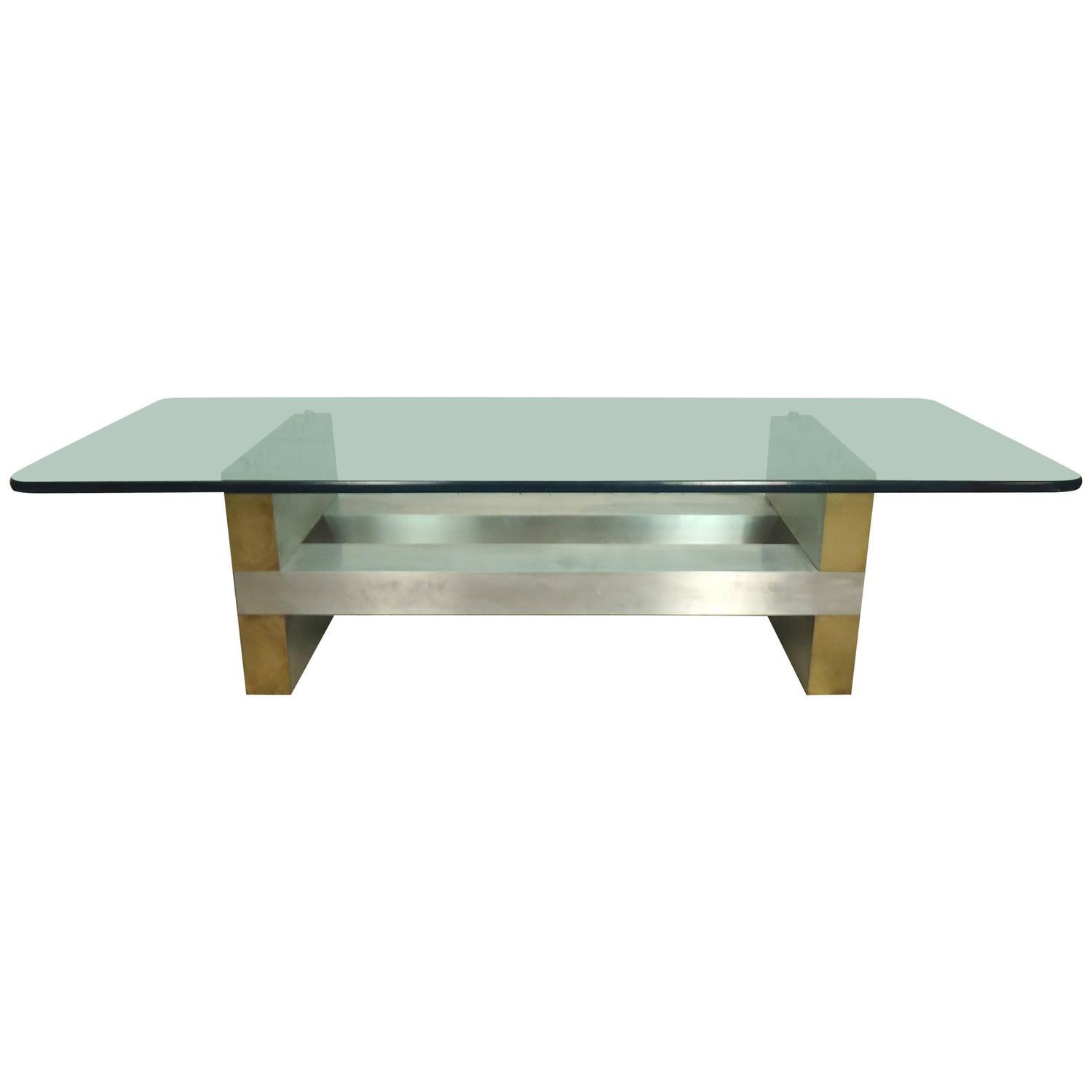 Brass And Chrome Plated Coffee Table At 1stdibs