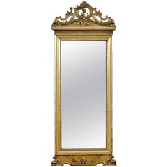 19th Century French Rococo-Style Mirror in Carved & Gilded Wood with Silver