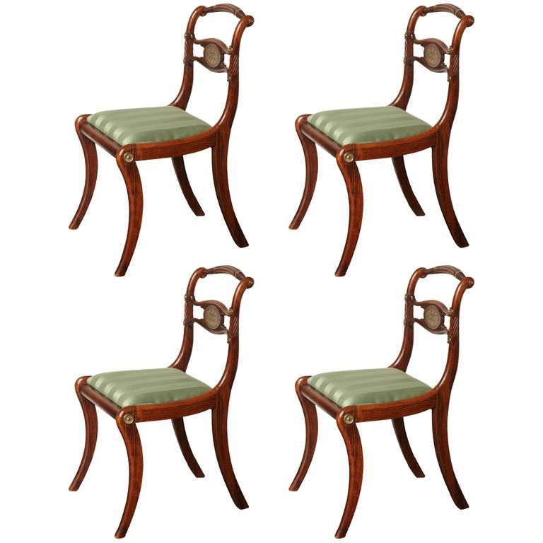 Set of Four English Regency Faux Rosewood and Brass Inlay Chairs