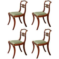 Set of Four English Regency, Faux Rosewood and Brass Inlay Chairs