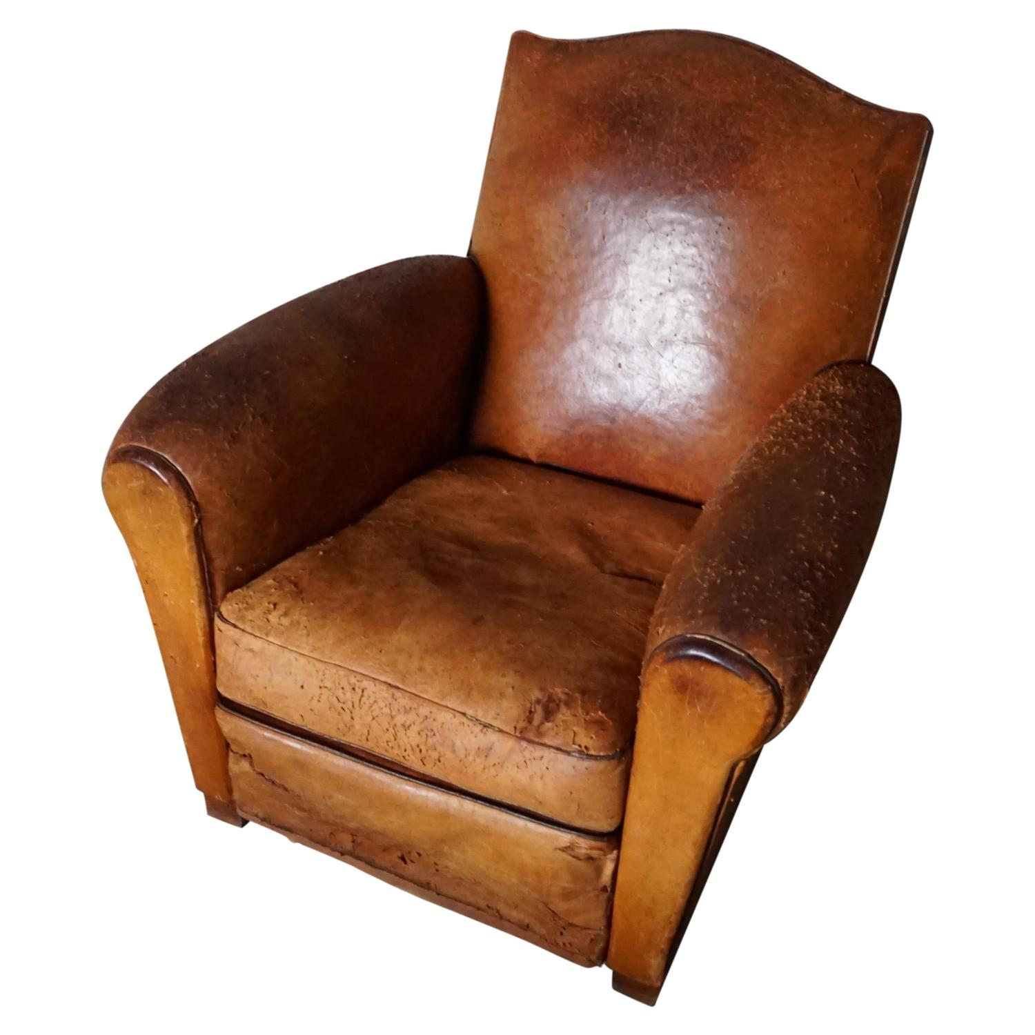 Vintage Distressed Cognac Leather French Club Chair 1930s At 1stdibs
