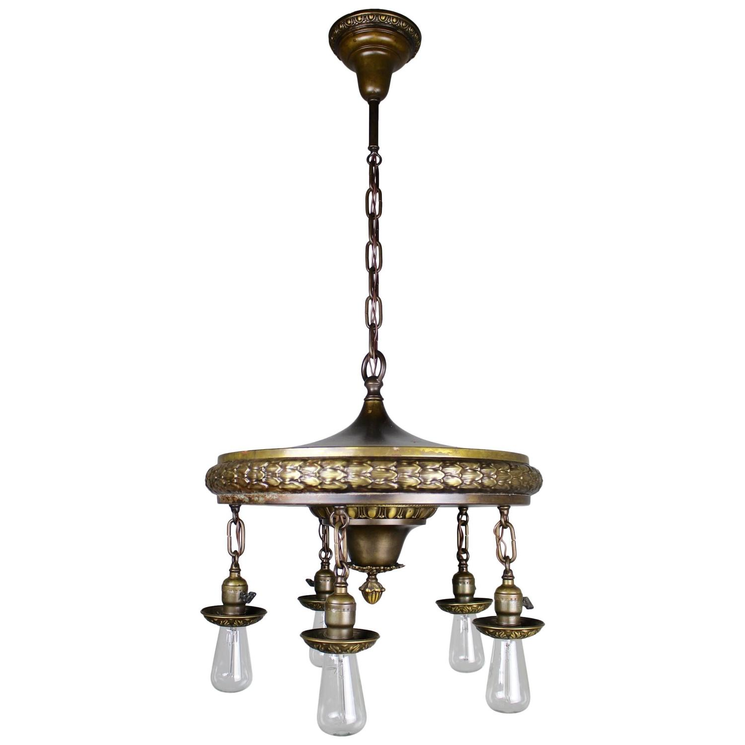 1920s five light neoclassical revival dining room fixture for sale at