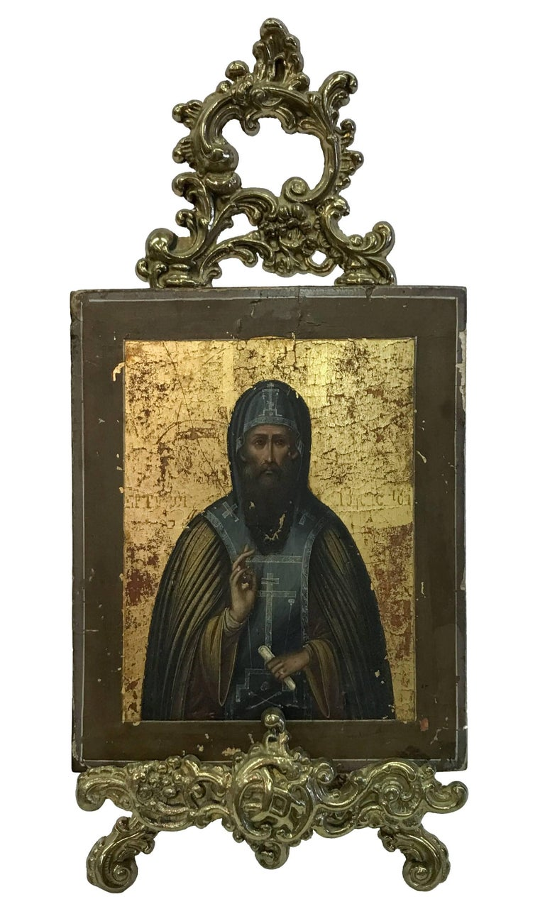 Unknown Portrait Painting - Russian Icon with Stand
