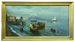 Fishing Boats in the Bay of Naples, Signed Napoli