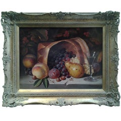 The Fruit Hamper Still Life of Grapes Plums and Peaches with Glass of wine