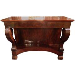 19th Century Charles X Mahogany Console Table with Drawers