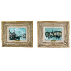 "Pair of ""Port Scene"" Paintings by Fernand Herbo"