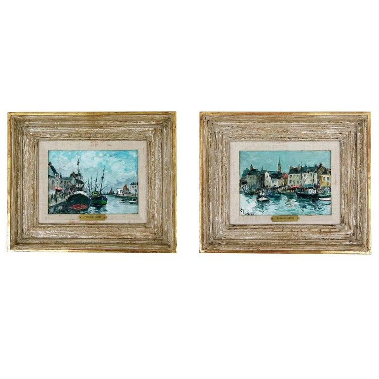 """Pair of """"Port Scene"""" Paintings by Fernand Herbo"""