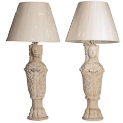 Pair of White Carrara Marble of Caryatid with Claw-Feet Table Lamps