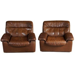 Pair of 1970s Leather Club Chairs by De Sede of Switzerland