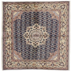 Vintage Persian Bijar Square Rug with Traditional Style