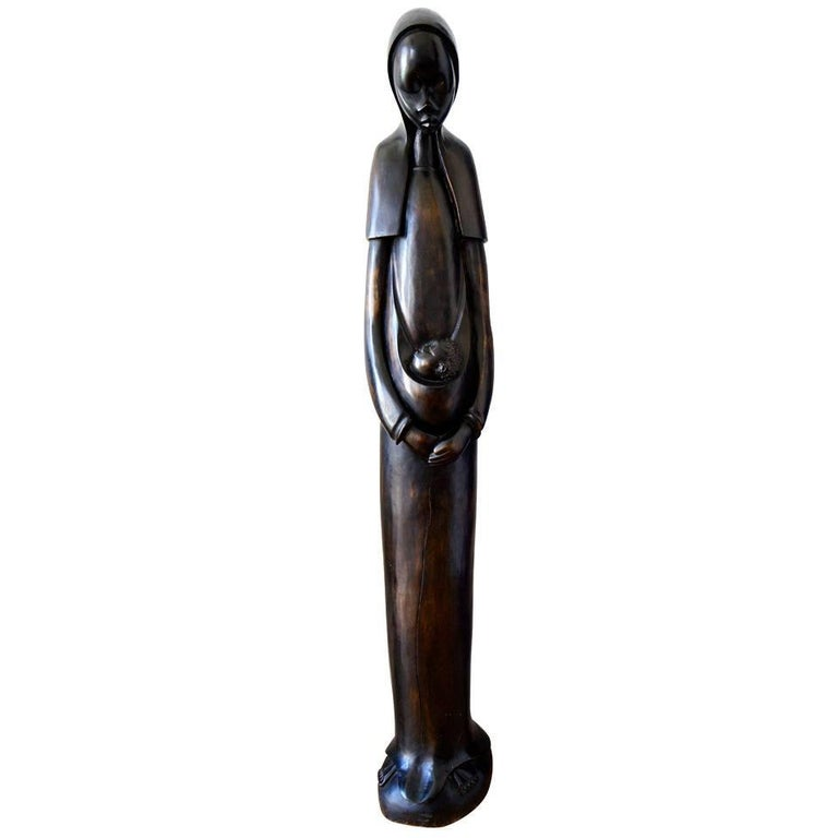Large Carved wooden sculpture of Maria with Child For Sale