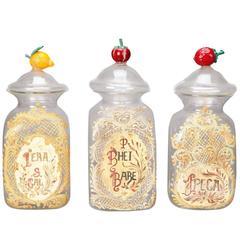 Venetian Glass Lidded Apothecary Jar with Glass Fruit Handle