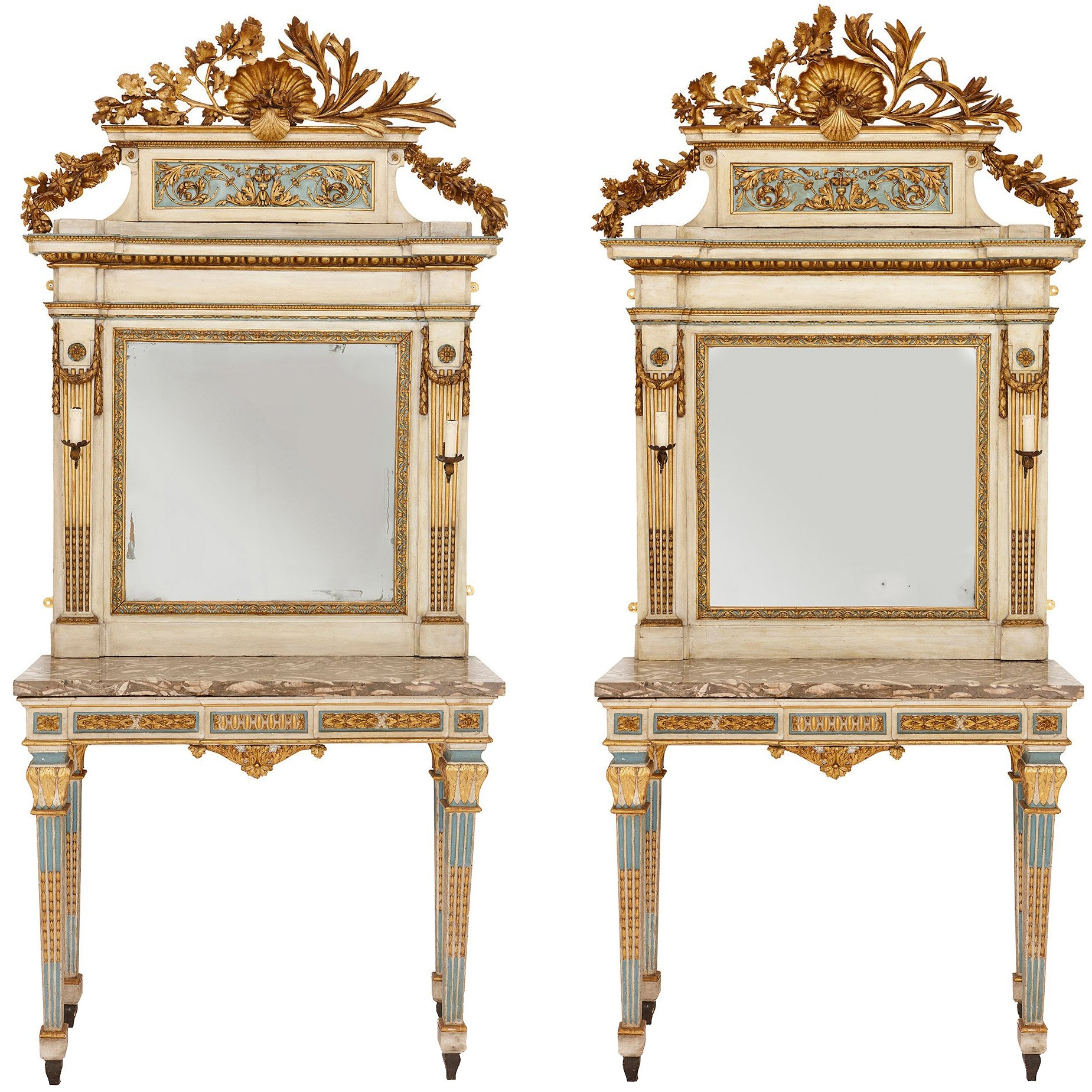 Pair of 18th Century Neoclassical Mirrored Console Tables