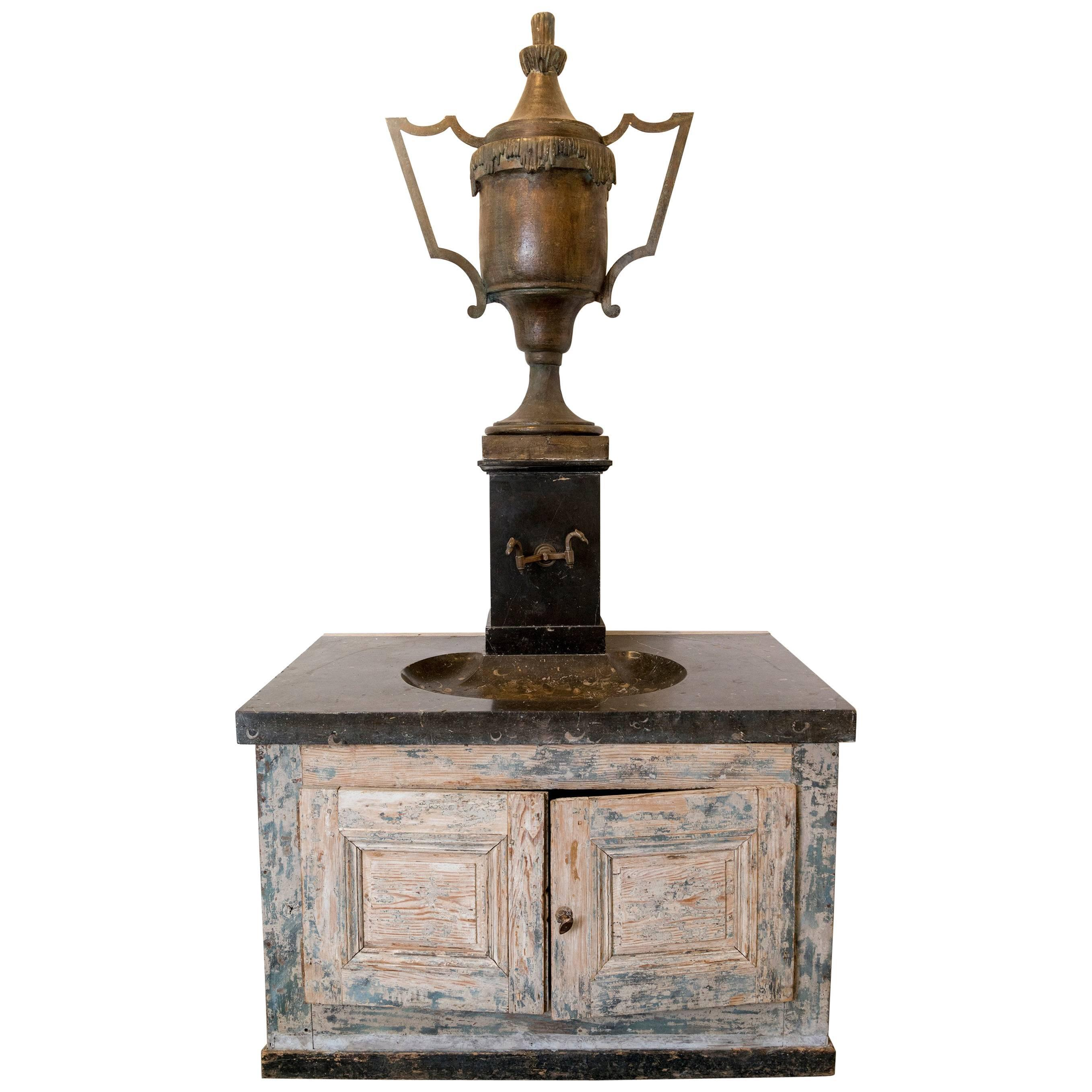 Bronze Vase Fountain With Black Marble Sink And Patina Base