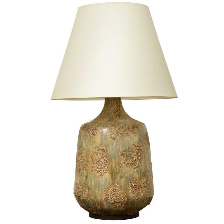 Large Midcentury Ceramic Lamp with Textured Brown and Green Glaze For Sale