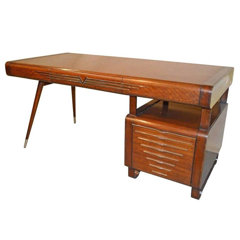 Vintage Midcentury Art Deco Italian Ponti Style Desk with Chrome Accents For Sale