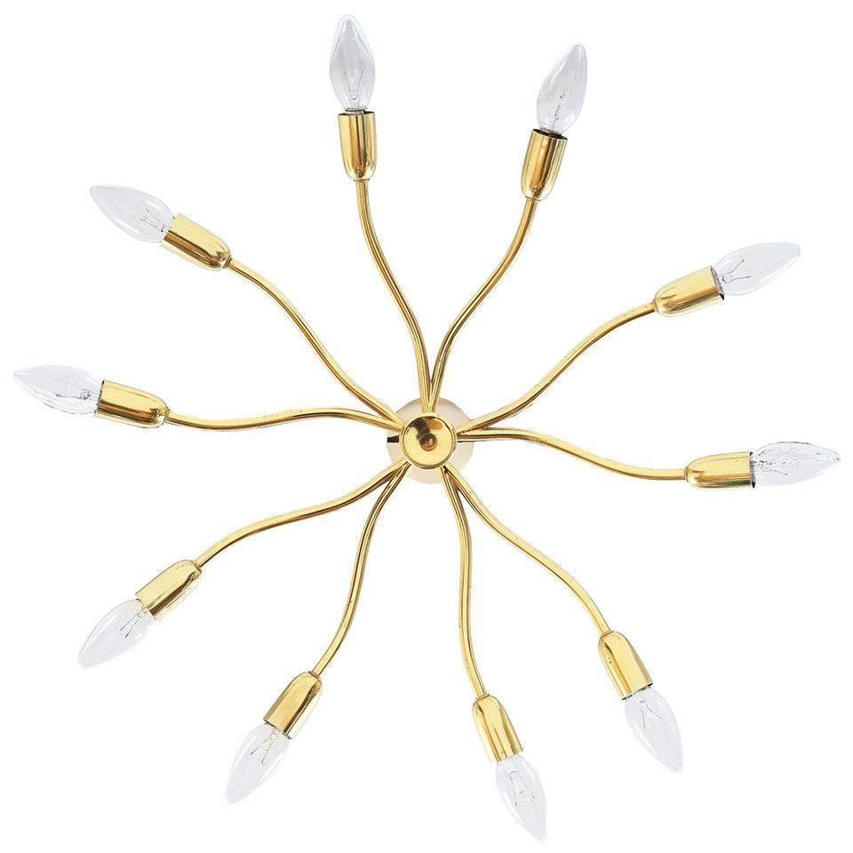 J.T Kalmar Brass Sputnik Scorpio Chandelier Ceiling Lamp Light, 1950