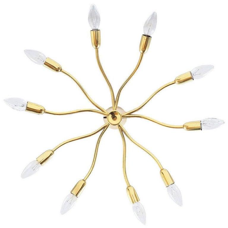 J.T Kalmar Brass Sputnik Scorpio Chandelier Ceiling Lamp Light, 1950 1