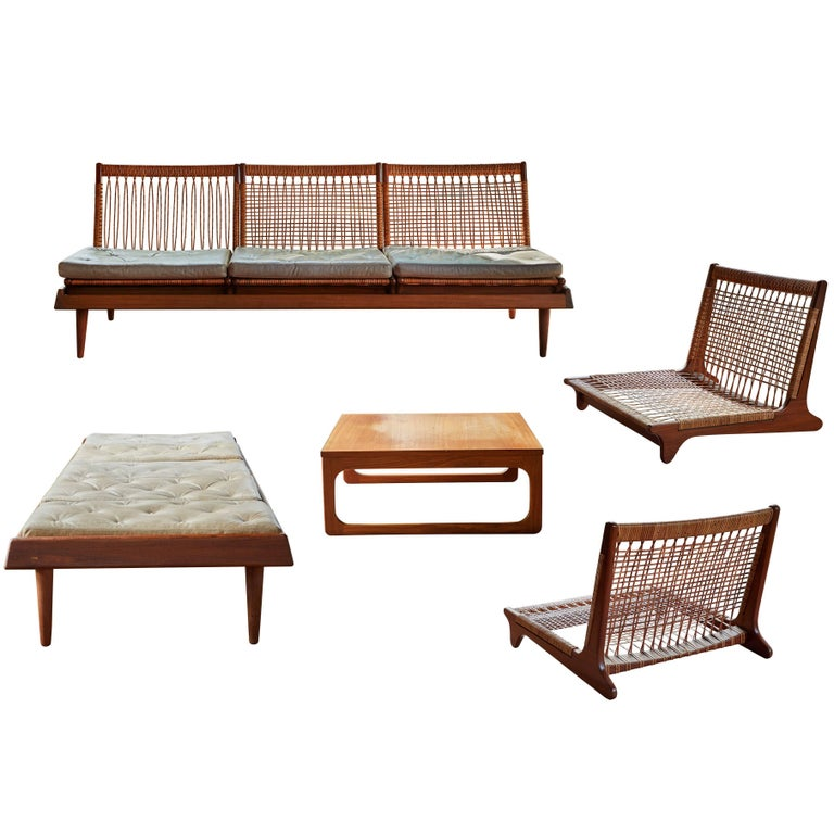 1950s Hans Olson TV161 Teak and Cane Modular Seating Set
