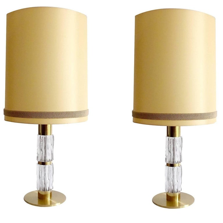 Pair of Very Large Midcentury Kaiser Orrefors Glass and Brass Table Lamps, 1960s