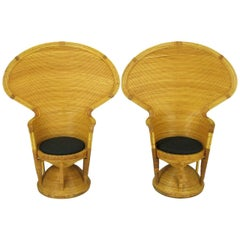 Pair of Egyptian Style Rattan Cobra Chairs