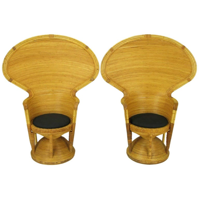 Pair of Egyptian Style Rattan Cobra Chairs 1