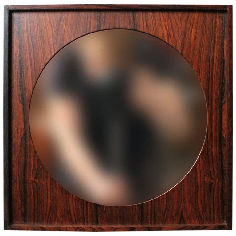 Perfect Square Swedish Rosewood Mirror For Sale